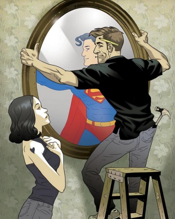 Для неё он супергерой. Автор: Asaf Hanuka.