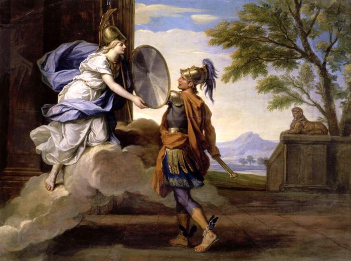 Афина вручает Персею щит. \ Фото: grekomania.ru.