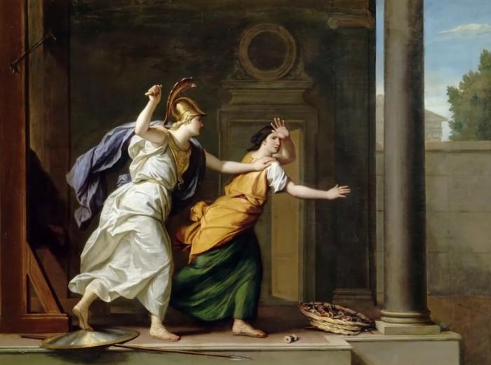 Афина и Арахна. \ Фото: pinterest.com.