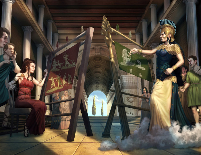 Афина и Аразхнея на конкурсе ткатского ремесла. \ Фото: artstation.com.