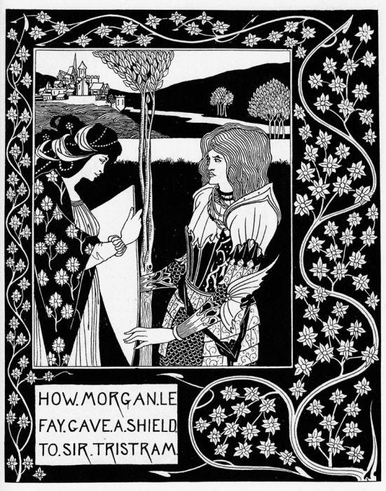Смерть Артура — Как Фея Моргана дала щит сэру Тристраму. Автор: Aubrey Beardsley.
