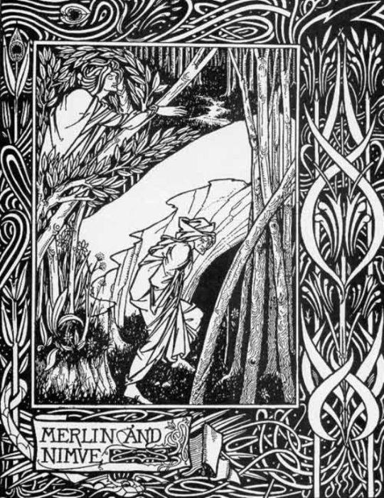 Смерть Артура — Мерлин и Нимуэ. Автор: Aubrey Beardsley.