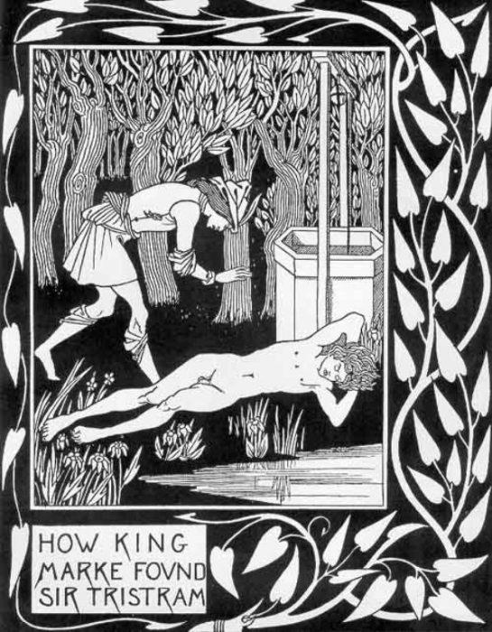 Смерть Артура — Как король Марк нашёл сэра Тристама. Автор: Aubrey Beardsley.