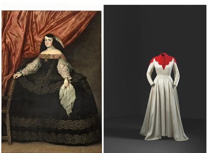Слева: Хуан Карреньо де Миранда, Донья Мария де Вера и Гаска, 1660-1670. \ Справа: Платье Infanta, 1939 год.
