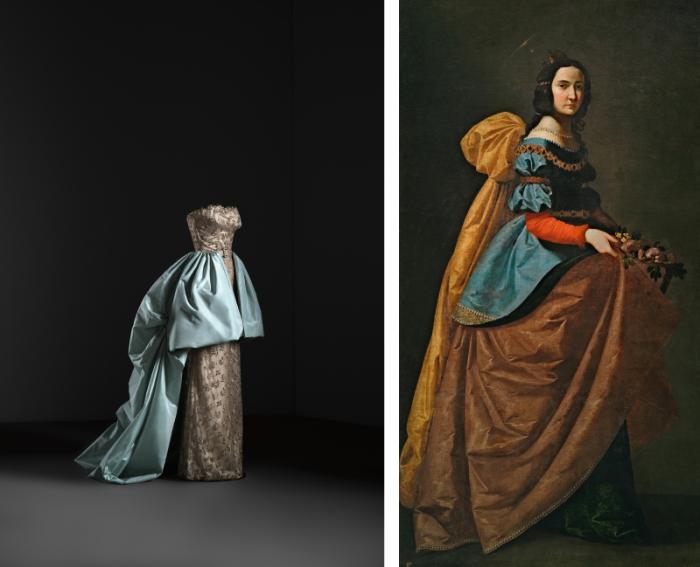 Слева: Вечерний наряд платья и юбки, 1951 год. Предоставлено Museo Thyssen Bornemisza. \ Справа: Франсиско де Сурбаран, святая Елизавета Португальская.