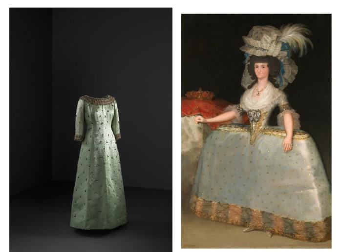 Слева: Вечернее платье (сатин, жемчуг и бисер) 1963 г. Кристобаль Баленсиага, музей Гетария. \ Справа: Франсиско де Гойя, Королева Мария Луиза в платье с юбкой с завязками, около 1789 года, Национальный музей Прадо, Мадрид.