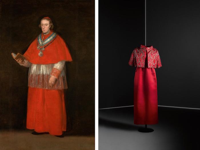 Слева: Франсиско Гойя, Кардинал Луис Мария де Бурбон-и-Вальябрига, 1800 год, Музей Прадо. \ Слева: Атласное платье с жакетом, 1960 год, Museo del Traje.
