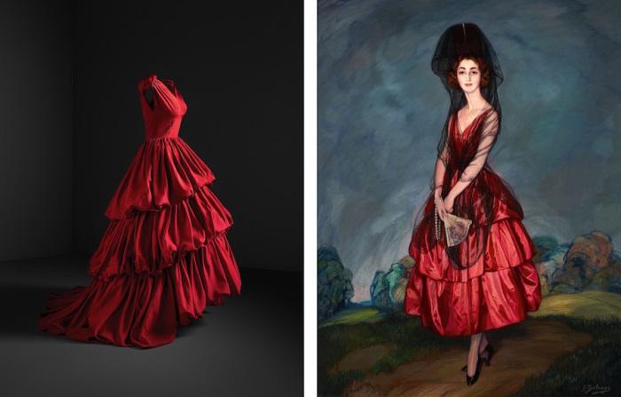 Слева: Вечернее платье, 1952 год, Museo Cristobal Balenciaga. \ Справа: Игнасио Сулоага, Портрет Марии дель Росарио де Сильва-и-Гуртубай, герцогини Альба, 1921 год, Fundacion Casa de Alba.