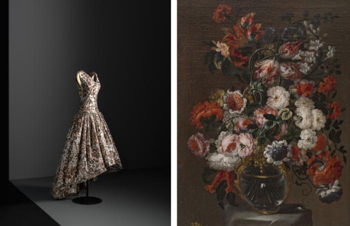 Вечернее платье из шёлкового икат-плетения Balenciaga (1958 год). \ Хуан ван дер Хамей и Леон: Подношение Флоре (1627 год).
