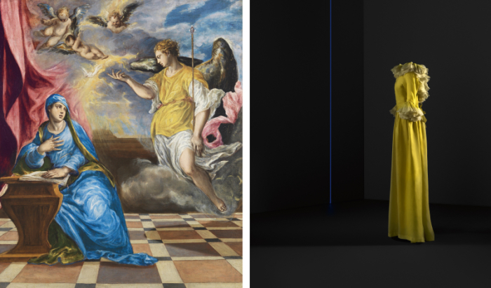 Слева: «Благовещение». Национальный музей Тиссен-Борнемиса, Мадрид. \ Справа: вечернее платье (шелковая органза), 1968 год.