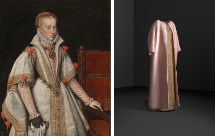 Слева: Музей Прадо – Гонсалес Бартоломе - Королева Анна Австрийская, четвёртая жена Филиппа II (копия Антониса Мора). \ Справа: Вечернее платье с атласной накидкой, 1962, Museo Cristobal Balenciaga.
