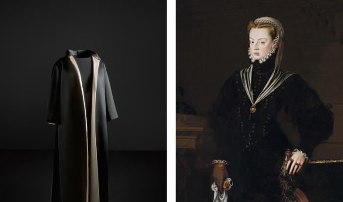 Справа: Хуана Австрийская, сестра Филиппа II, принцесса Португалии. \ Слева: Визитная карточка Кристобаля Балансиага.