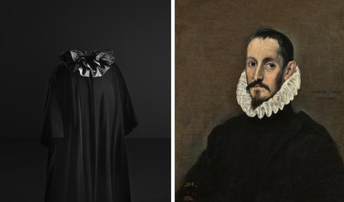 Слева: Вечерняя накидка с гофрированным воротником, 1955, Museo Cristobal Balenciaga / Jon Casenave; Справа: Эль Греко, Мужской портрет, 1568, Музей Прадо.