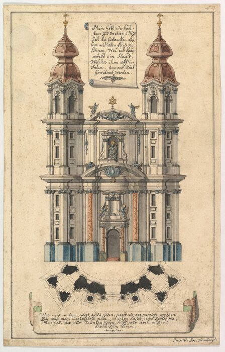 Фасад церкви в стиле барокко с наклонно расположенными башнями, Joseph Kirnberger, ок. 1760-1770 гг. \ Фото: pinterest.com.