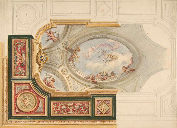 Дизайн потолка в стиле барокко с центральной панелью в стиле тромплёй, XIX век. \ Фото: artvee.com.