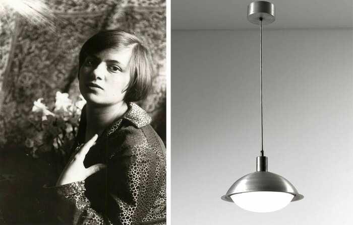 Слева направо: Автопортрет с лилиями Марианны Брандт, ок. 1925 года. \ Потолочный светильник Марианны Брандт, 1925 год. \ Фото: google.com.