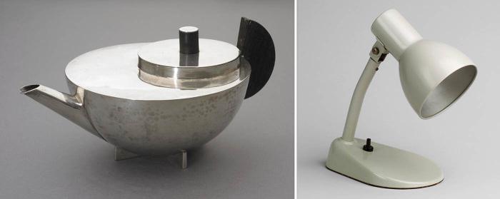 Слева направо: Чайник и заварочный чайник Марианны Брандт, ок. 1925-29 гг. \ Прикроватная настольная лампа Марианны Брандт, 1928 год. \ Фото: twitter.com.