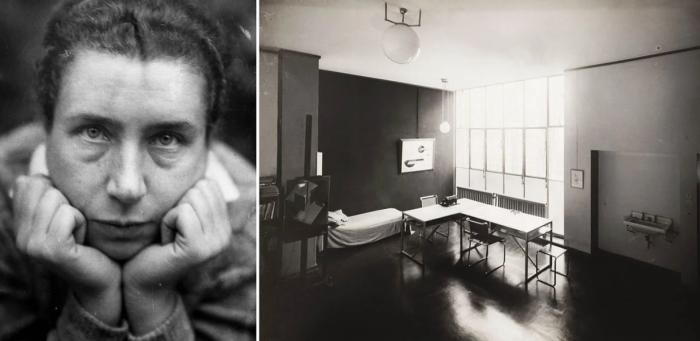 Слева направо: Автопортрет Люсии Мохой, 1930 год. \ Внутренний вид студии Moholy-Nagys House, 1926 год. \ Фото: google.com.ua.