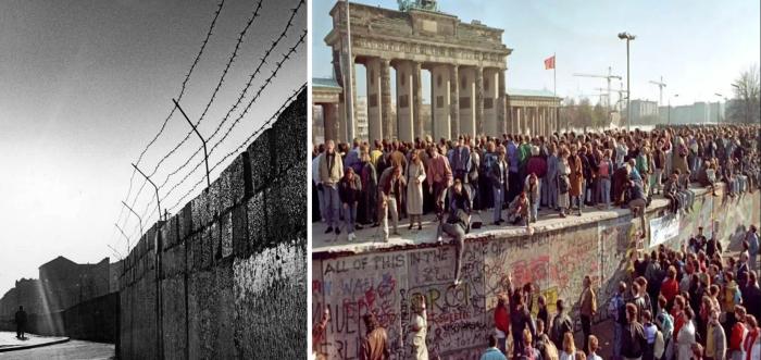 Слева направо: Берлинская стена в начале Холодной войны, фотограф Пауль Шутцер. \ Берлинская стена в 1989 году, фотограф Андре Кайзер. \ Фото: pinterest.ru.