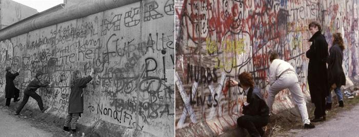 Западные берлинцы оставляют свой след на стене. \ Фото: google.com.ua.