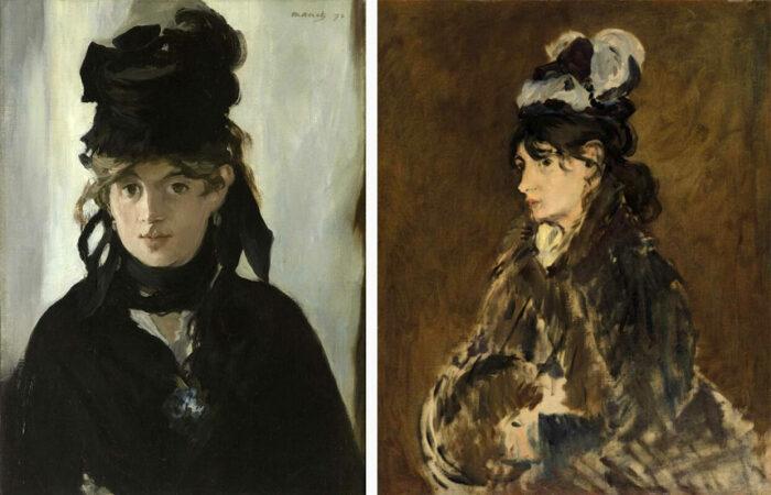 Слева направо: Берта Моризо с букетом фиалок, Эдуард Мане, 1872 год. \ Берта Моризо, Эдуард Мане, ок. 1869-73 гг. \ Фото: pinterest.ru.