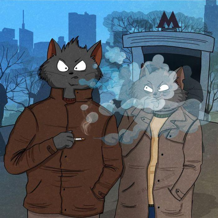 Курение в общественных местах. Автор: Bird Born.