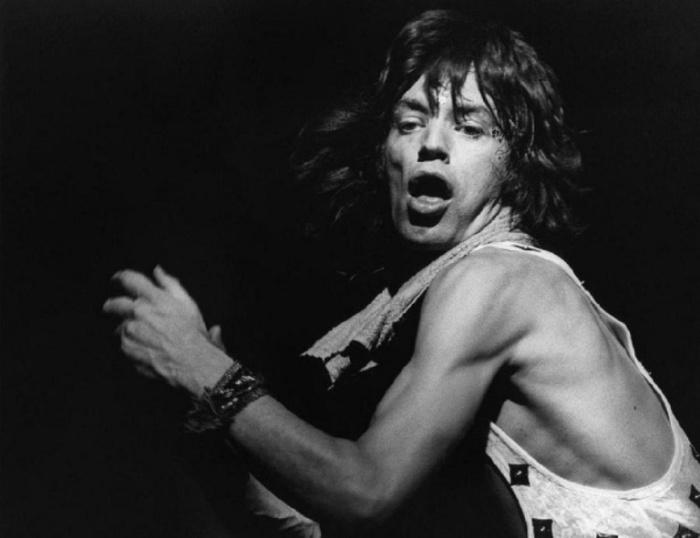 Мик Джаггер (Mick Jagger), 1972 год. Автор фото: Bob Gruen.
