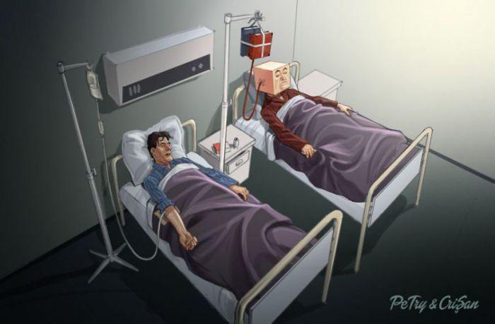 Сатирические иллюстрации, показывающие шокирующую реальность современного общества. Авторы: Бoгдaн Пeтри (Bogdan Petry) и Хopия Кpишaн (Horia Crisan).