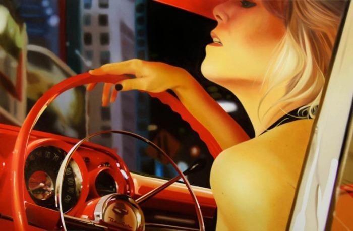 Блондинка за рулем. Автор: Brian Tull.