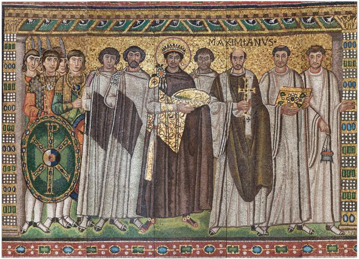 Мозаика с изображением императора Юстиниана I (в центре), одного из величайших реформаторов византийского государства, начало ХХ века. \ Фото: blogspot.com.