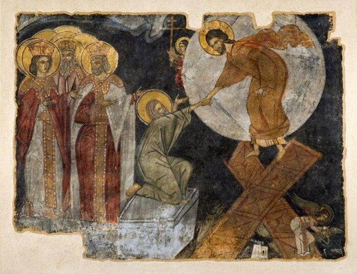 Фреска, изображающая Христа, вытаскивающего Адама из могилы, из разрушенного храма Святой Флориды, Греция, 1400 год. \ Фото: commons.wikimedia.org.