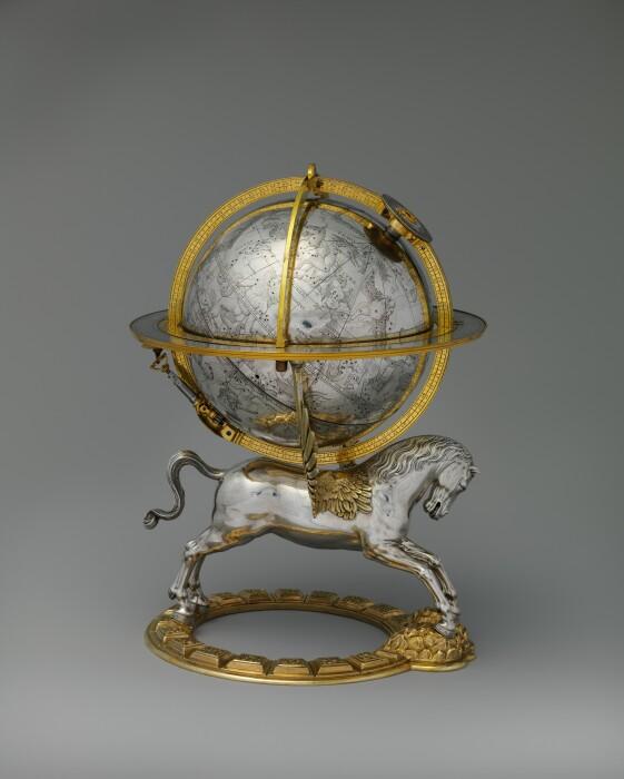 Небесный глобус с часовым механизмом, Герхард Эммозер, 1579 год. \ Фото: metmuseum.org.