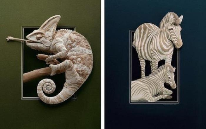 Хамелеон и зебры. Автор: Calvin Nicholls.