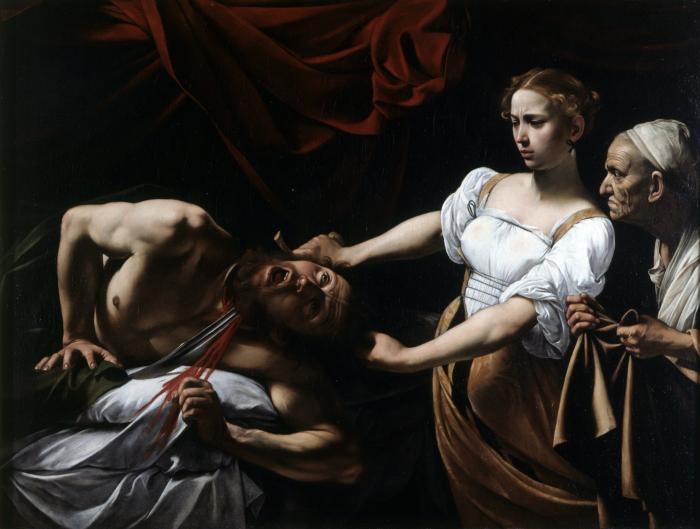 Юдифь обезглавливает Олоферна.