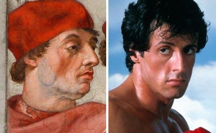 Сильвестр Сталлоне и фреска Рафаэля Санти. \ Фото: pinterest.com.