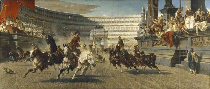Гонки на колесницах на ипподроме, Александр фон Вагнер, 1882 год. \ Фото: pinterest.fr.