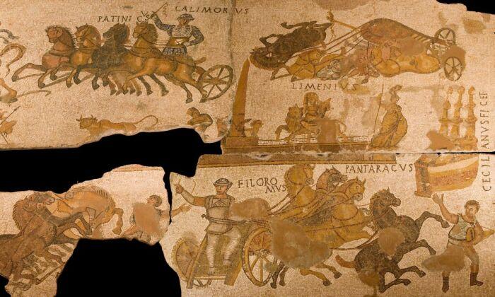 Деталь мозаики,  изображающая скачки в Большом цирке. \ Фото: visitmuseum.gencat.cat.