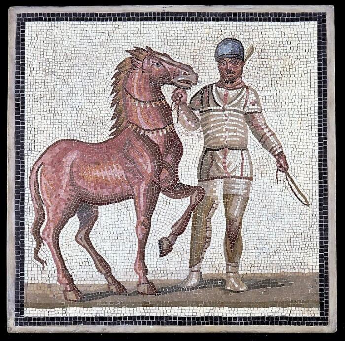 Мозаика с изображением возничего, принадлежащего белым, первая половина 3-го века н. э. \ Фото: museonazionaleromano.beniculturali.it.