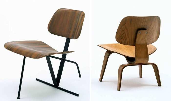 Слева направо: Откидное кресло, Чарльз и Рэй Имз, разработанное в 1944 году. \ Низкое кресло, Чарльз и Рэй Имз, разработанное в 1946 году. \ Фото: via.susukambingetawagomars.com.