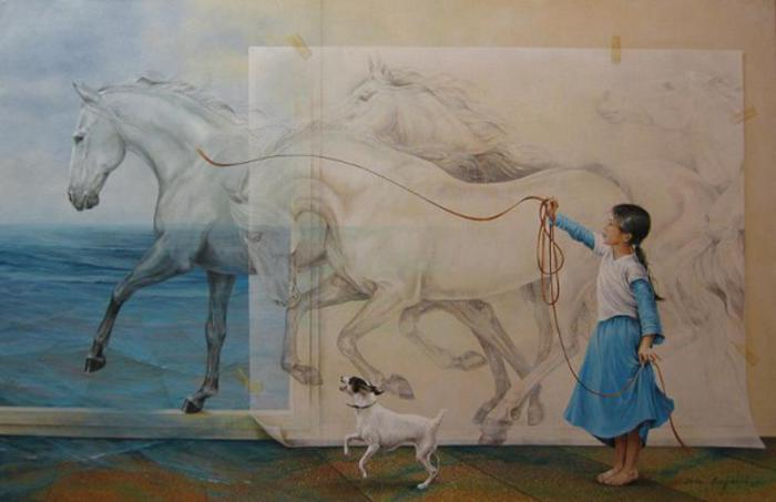 Белогривые лошадки. Автор: Chelin Sanjuan Piquero.