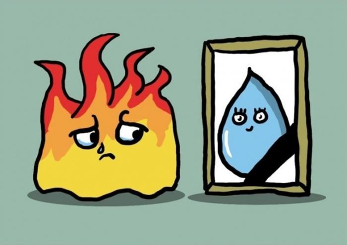 «Нарисуй огонь, который влюблён в воду, которая находится под землёй». Автор: Chilik.