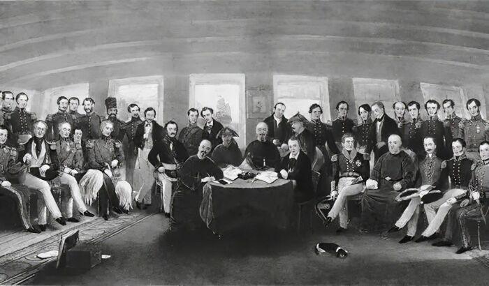 Подписание Нанкинского договора, 29 августа 1842 года, гравюра в честь капитана Джона Платта, 1846 год. \ Фото: zhuanlan.zhihu.com.