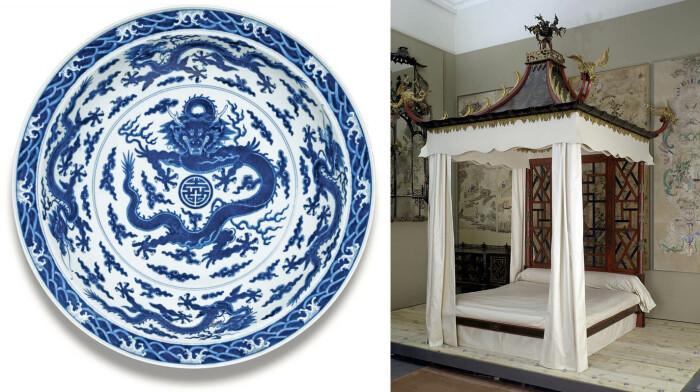 Слева направо: Прекрасное и редкое большое сине - белое блюдо Дракон периода Цяньлун. \ Кровать с китайскими обоями на заднем плане, Джон Линнелл, 1754 год. \ Фото: sothebys.com и vam.ac.uk.