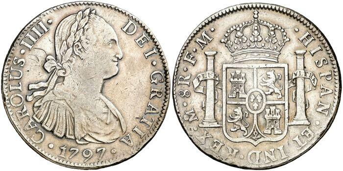 Восемь реалов, 1795 год. \ Фото: aureocalico.bidinside.com.