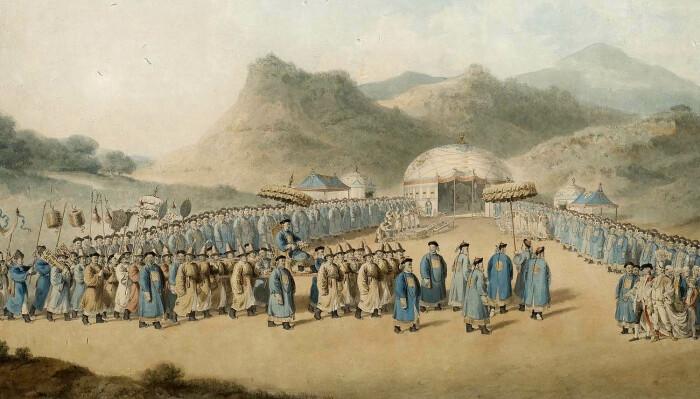 Приближение императора Китая к его палатке в Татарии для приёма британского посла, Уильям Александер, 1799 год. \ Фото: royalasiaticcollections.org.