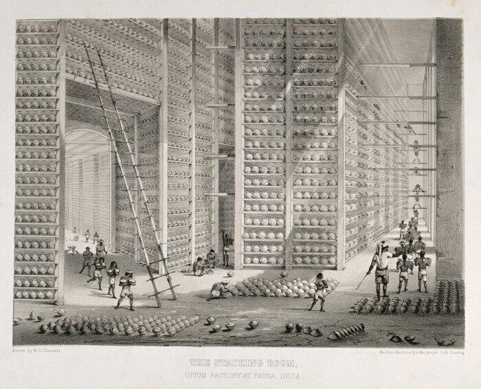 Складская комната на фабрике опия в Патне, Индия, литография У. С. Шервилла, около 1850 года. \ Фото: commons.wikimedia.org.