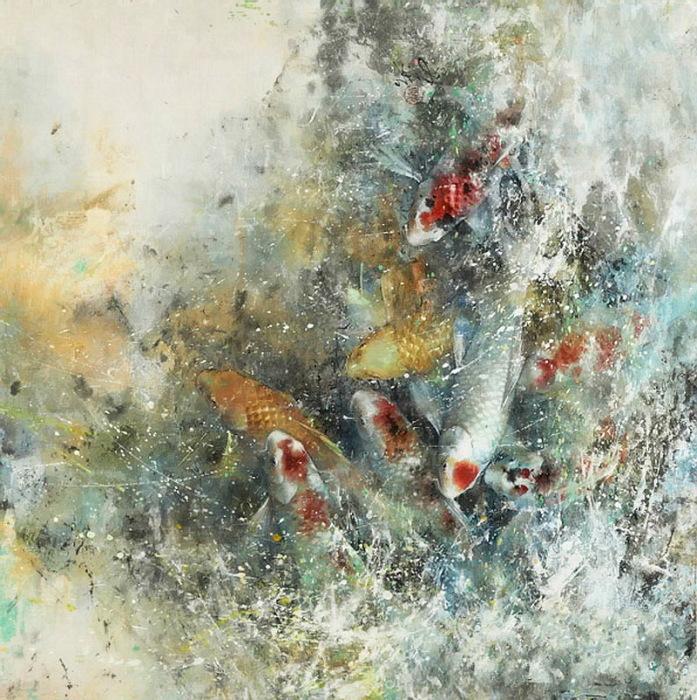Разноцветные карпы. Автор: Ching Keck How.