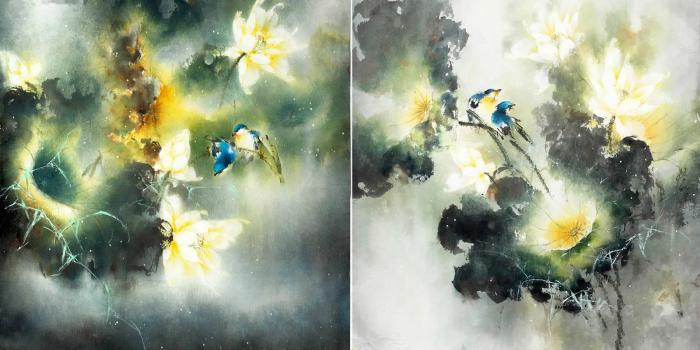 Синие птички - вестники удачи. Автор: Ching Keck How.
