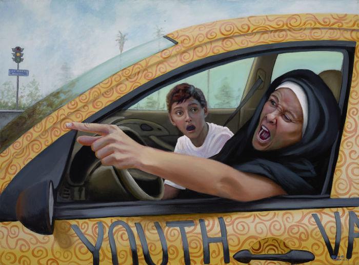 Дорогие родители, сестра Регина больше не будет ездить в церковь! Автор: Christina Ramos.