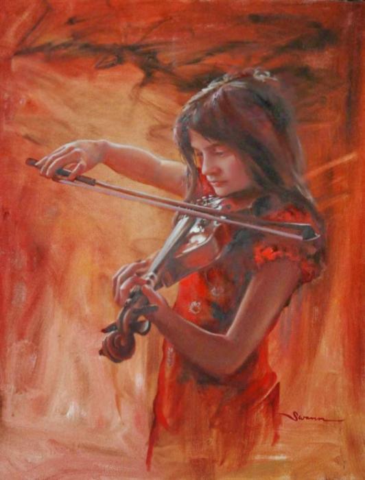 Юная скрипачка. Автор: Christine Swann.
